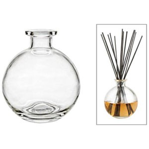 Decorative Glass Diffuser Bottle, Round, 3 1/2' W x 4'.